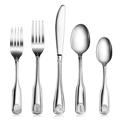 New Star Foodservice 58918 Shell Pattern, 18/0 Stainless Steel, 60 piece Flatware Set