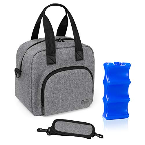 Luxja Breastmilk Cooler Bag with an Ice Pack (Hold 6 Breastmilk Bottles, 5-9 Ounces), Leakproof Cooler Bag for Breast Milk and Bottle Set, Gray