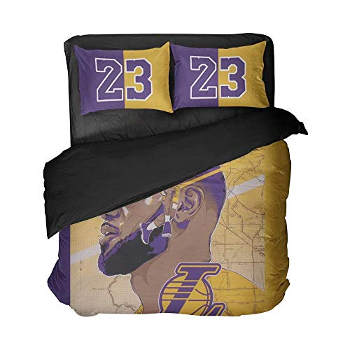 Maspt 3D Printed Cartoon Cool Pattern Basketball Player Number 23 Flat Sheet Vivid Color Breathable Duvet Cover Cotton Sportsman Bed Set for Boys(Twin 3pcs)