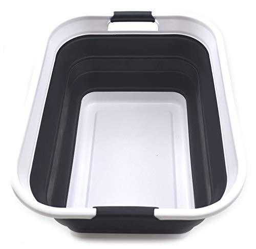 SAMMART Cesta Plegable de plástico para la Colada, contenedor de Almacenamiento Plegable y Organizador, Tubo de Lavado portátil, Cesta de Ahorro de Espacio