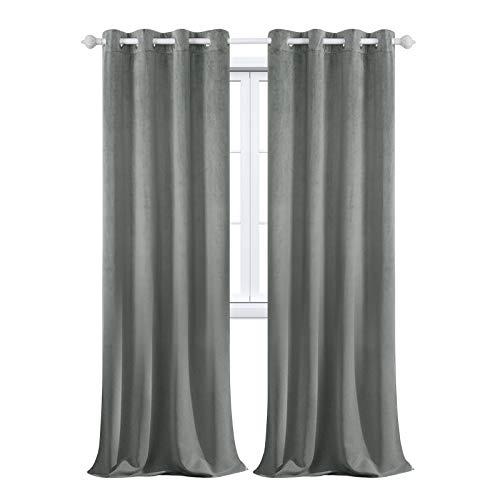 MAXIJIN Velvet Blackout Curtains - Cortinas aisladas térmicamente para ventanas y ventanas (1 panel de 260 x 140 cm), color gris