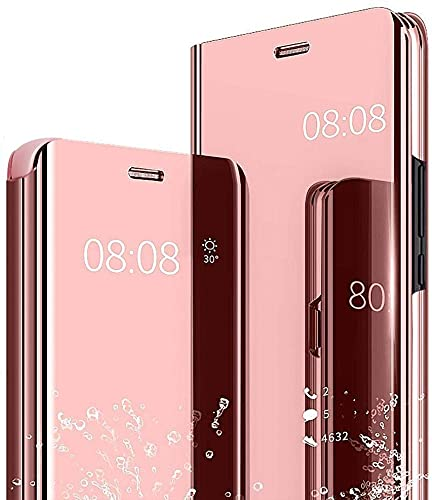 Hülle für Samsung Galaxy A21S Spiegel Handyhülle, Samsung Galaxy A21S Flip Schutzhülle Clear View Ledertasche Handy Mirror Standfunktion Tasche 360 Grad Stoßfest Hülle Cover, Rosé Gold
