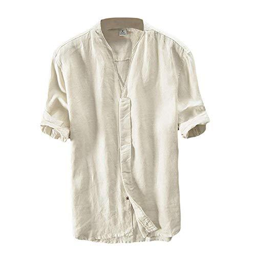 Lin Chemise Homme Été Chemise Col en V Shirt Décontractée Manches Courtes Slim Fit Blouse Tops Confortable Respirant Beige M