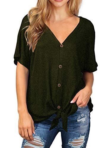 IWOLLENCE Womens Waffle Knit Tunic Blouse Tie Knot Short Sleeve Henley Tops Loose Fitting Bat Wing Shirts Army Green Small