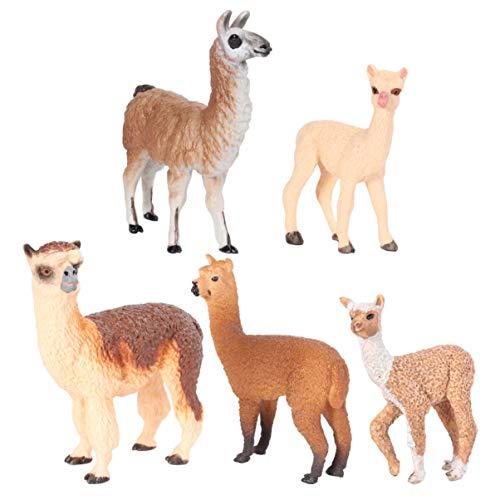 BESPORTBLE 5 Stücke Alpaka Figur Modell Plastik Tierfiguren Bauernhoftiere Bauernhof Spielfiguren Dekofigur Miniatur Tiere Spielzeug für Kinder Wohnzimmer Schule Lernspielzeug