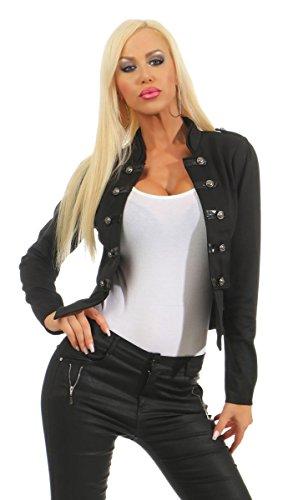 Fashion4Young 10218 Damen Kurzjacke Blazer Jäckchen Jacke Army-Look Military-Style Stehkragen (schwarz, S/M=34/36)