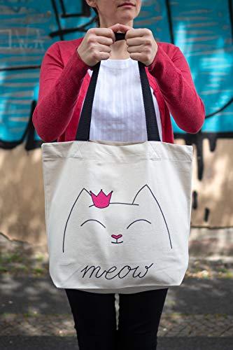 BagCouture stijlvolle ruime draagtas | met binnenzak, ritssluiting, en grote bodem | met kattenmotief | katoenen tas, stoffen tas, shopper handtas | Öko-Tex 100 standaard gecertificeerd