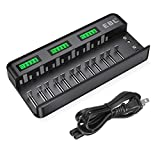EBL 12+2 Bay LCD Rechargeable Battery Charger for AA AAA C D Ni-MH Ni-CD Rechargeable Batteries & 9V NiMH Ni-CD Li-ion Rechargeable Batteries (AC Power Supply)