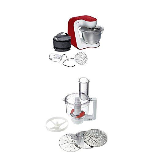 Bosch MUM54R00 Küchenmaschine StartLine Edelstahl-Rührschüssel, 3D Rührsystem, 7 Schaltstufen, 3,9 L, 900 W, weiß / tiefrot + MUZ5MM1 Multimixer (Passend zu Küchenmaschinen MUM5) weiß/transparend