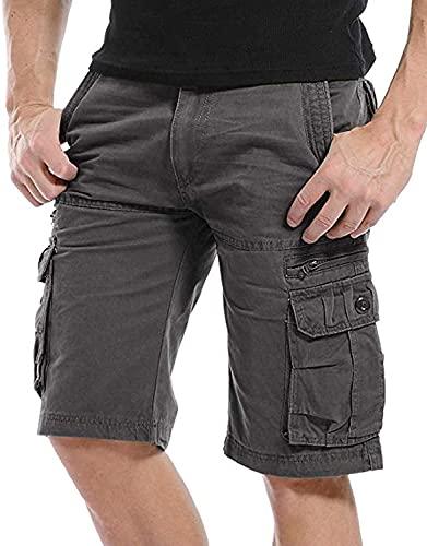 Kuson Herren Cargo Hosen Kurz Freizeithose Chino Slim Stoffhose Arbeit Baumwolle Grau 32