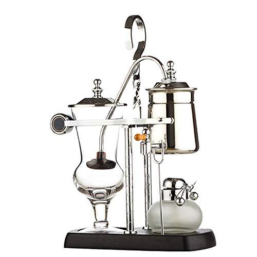 MorLugan Kaffeemühle Manuelle Kaffeekanne, Home Siphon Manueller Kaffee Brühtee Balance-Kaffeekanne mit doppeltem Verwendungszweck (Alkohollampe), manuell (Farbe: Gold,Silber)
