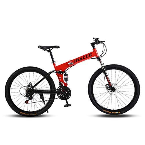 JESU Bicicletta pieghevole di montagna, forcella di sospensione del freno a doppio disco, bici antiscivolo, a velocità variabile a doppio assorbimento degli urti, rosso 26', 24 velocità