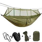 BBZZ Hamaca, hamaca de camping con mosquitera, red de insectos, portátil, senderismo, colchoneta de dormir para acampar, hamaca acogedora