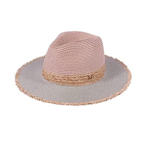 Bdesign Señoras Sombrero de Paja Verano Protector Solar Playa Sombrero Sol Plegable Disquete Ancho de Verano Sombrero Sombrero UPF 50+ (Color : Pink and Gray)