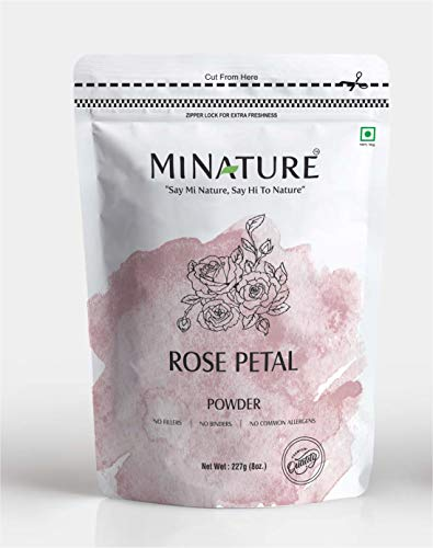 Rose petal powder by mi nature | 227 g ( 8 oz) (0.5 lb) | 100% Natural and Pure | Skin care | Chemical free | No added colours , no preservatives