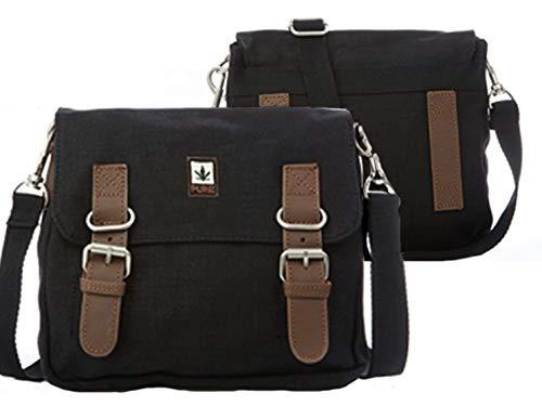 Pure HF-0029 Hanf Baumwolle kombinierte Schultertasche und Gürteltasche H19 x B21 x T4,5, Schwarz