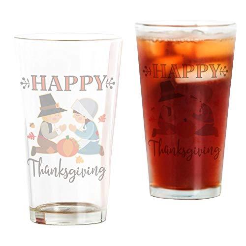 CafePress Happy Thanksgiving Pilgrims Pint-Glas durchsichtig