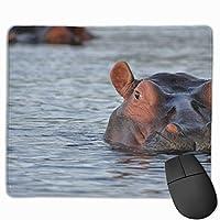 水の中のカバ マウスパッド 25x30cm レーザー&光学マウス対応 防水/洗える/滑り止め 中型 ブラック