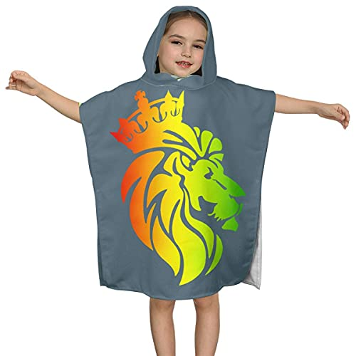 Rasta Lion Crown Kids Cozy Poncho con Capucha Toalla de baño / Playa