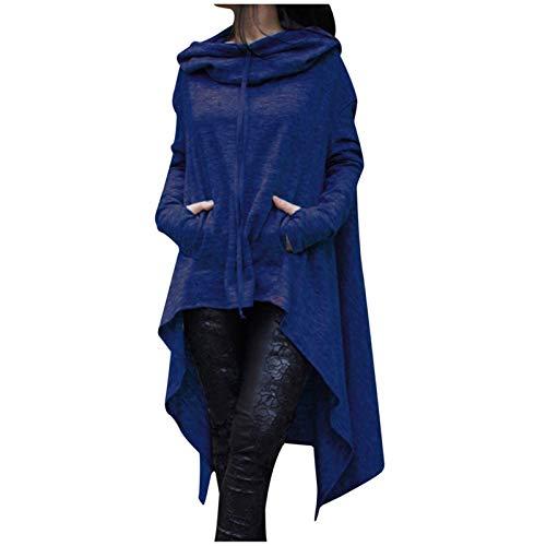 Aniywn Women's High Low Long Hoodies Sweatshirts Long Sleeve Pullover Sweater Dress Lightweight Women Cloak Tunic Tops Blue