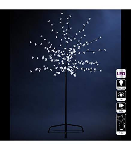 DECO NOËL - Arbre fleur lumineux 200 LED blanc froid - Hauteur 150 cm