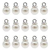 JJGQAZ 100 pcs 8mm Blanc Imitation Perle Charmes Pendentifs Faux Perles Perles Charmes avec Strass pour Dangle Boucles D'oreilles Collier Fabrication de Bijoux
