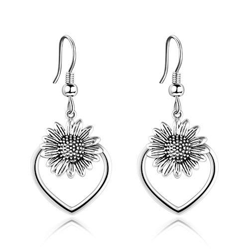 VONALA 925 Sterling Silver Heart Sunflower Dangle Earrings Oxidizied Earrings for Women Girls (Oxidizied silver)