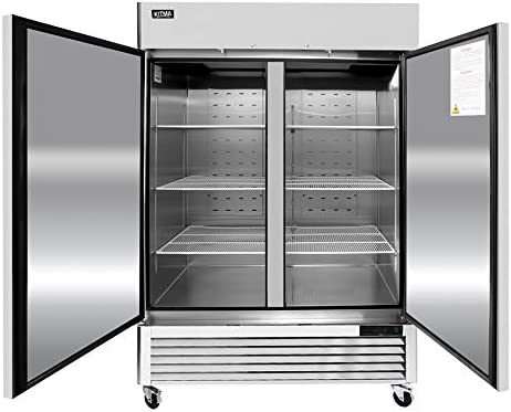 54 Commercial Refrigerators 2 Section Solid Door Reach in Upright Fridge for Kitchen Restaurant product image