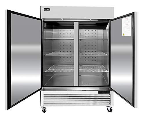 "54"" Commercial Refrigerators - 2 Section Solid Door Reach in Upright Fridge for Kitchen Restaurant - Stainless Steel Fridge Beer Beverage Cooler, Food Storage, 49 Cu.Ft, 6 Adjustable Shelves (33℉-38℉)"