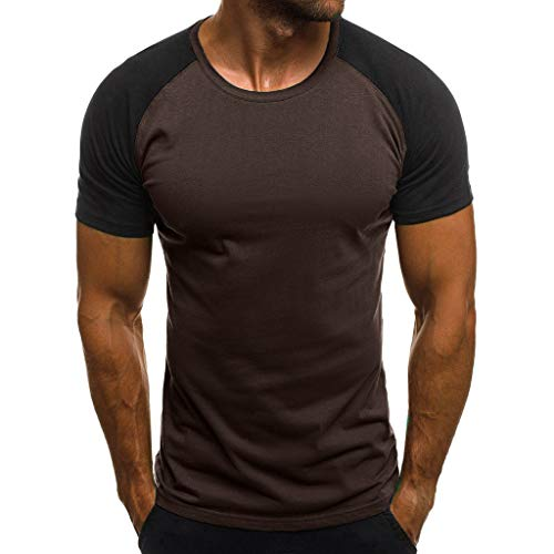 Shirt for Men, F_Gotal Men's T-Shirts Fashion Summer Short Sleeve Patchwork Muscle Slim Fit Casual Tees Blouse Tops Brown