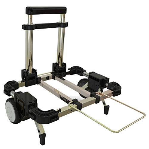 Carretilla plegable con movimiento compacto para equipaje con ruedas y mango telescópico ajustable