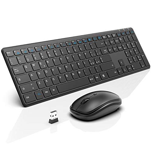 WisFox Combinazione di Tastiera Mouse Senza Fili, 2.4G Full-Size Mouse da Tastiera Sottile Avanzato Combo per Windows, Computer, Desktop, PC, Laptop Mac