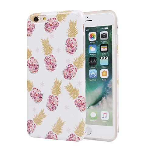 ZQ-Link Funda iPhone 6 Plus,Funda iPhone 6S Plus, TPU Creativo Diseño Carcasa Funda Gel con Patrón Lindo - Rosa Piña