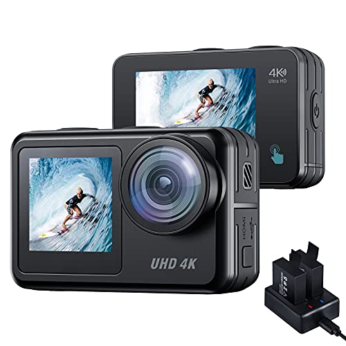 Waterproof Action Camera 4K 20mp ACTMAN 131 ft Underwater Camera Camcorder Dual Screen WiFi Touch Screen Vlog Camera EIS Remote Control Sport Camera with Charger and 2X 1350mAh Batteries