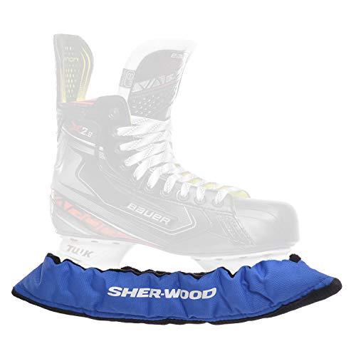 SHER-WOOD - Senior Pro Eishockey elastische Kufenstrümpfe für Eishockey- & Schlittschuhe, 2 Stück, blau
