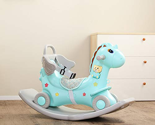 SHOPPER STOP ROCKING HORSE WITH BACKREST { TURQUOISE }