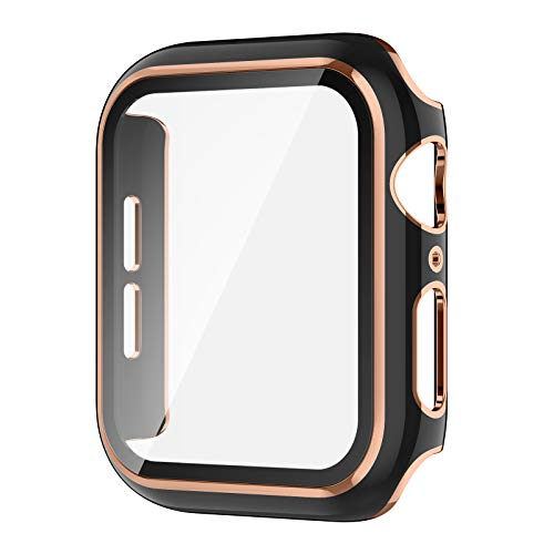 AVIDDA Case Compatible Apple Watch 42mm Built-in Tempered Glass Screen Protector, Rose Gold Edge Black Bumper Full Coverage HD Clear Protective Film Cover for Women Men iWatch 42mm Series 3/2/1