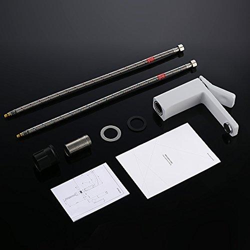 Homelody – Design-Waschbeckenarmatur, Einhebelmischer, ohne Ablaufgarnitur, Weiß - 8