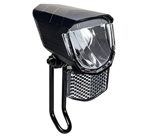 FISCHER Fahrrad Dynamo Scheinwerfer LED 45 Lux | integrierter Frontreflektor | Überspannungsschutz | StVZO zulässig | schwarz