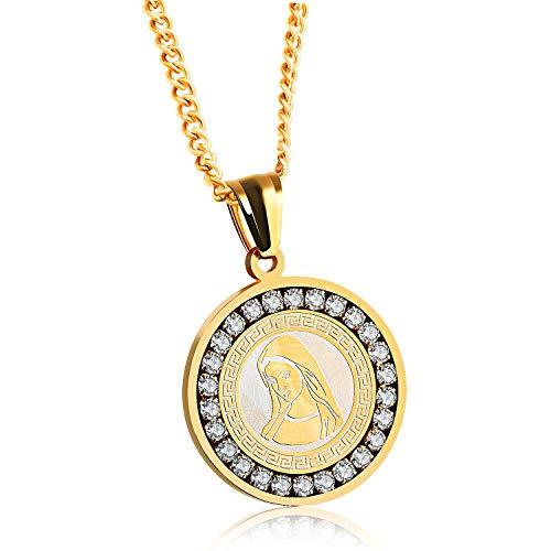 PURROMM Collar con incrustación de Moneda de la Virgen de la Moneda de Guadalupe, Nuevo Regalo, Nuestra señora de Guadalupe Joya de Acero, Acero Inoxidable, Colgante de Fe,Gold