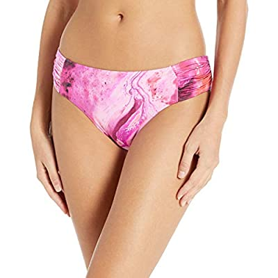 Seafolly Women's Ruched Side Retro Bikini Bottom Swimsuit, Ocean Ombre Sangria, 8 US