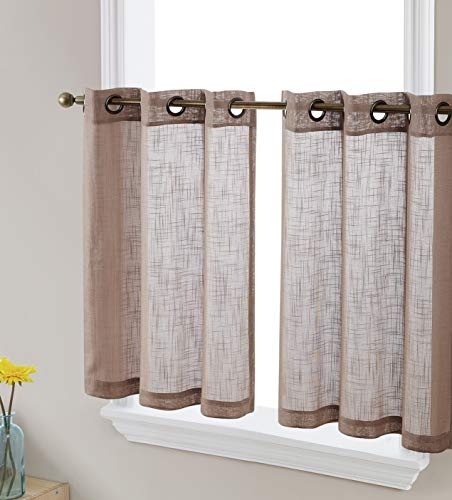 HLC.ME Abbey Faux Linen Textured Semi Sheer Privacy Light Filtering Transparent Grommet Short Thick Cafe Curtain Tiers for Small Windows, Kitchen & Bathroom, Set of 2 (35 W x 2 4 L, Taupe)