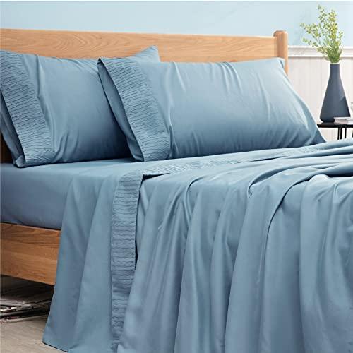 Bedsure Queen Bed Sheets Set Spa Blue - Soft 1800 Bedding Sheets & Pillowcases Sets, 4 Pieces Queen Sheet Set