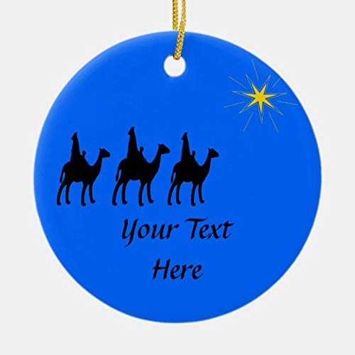 PotteLove Personalized Wisemen and North Star Silhouette Customized Any Name and Date 3' Ceramic Ornament