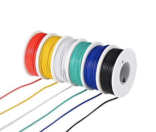 Tuofeng, kit di cavi elettrici in PVC, 22 AWG, 6 bobine di colore diverso da 30 metri, filo intrecciato calibro 22 – Kit di cavi in rame stagnato per il fai da te