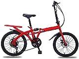 20 Pulgadas Bicicleta Bici Ciudad Plegables Adulto Hombre Mujer, Bicicleta de Montaña Btt MTB Ligero Folding Mountain City Bike Doble Suspension Bicicleta Urbana Portátil, H103ZJ (Color : Red)
