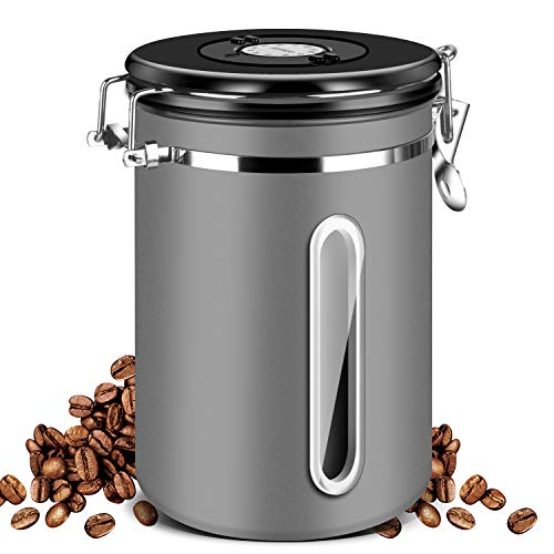 Airtight Coffee Canister,Malmo Coffee Container with Date Tracker Lid & Window,22oz Stainless Steel Canister for Kitchen Food Storage,Dark Gray