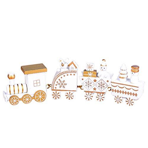 LILIGOD Decorazione Natalizia In Legno, Piccolo Trenino Di Natale, Decorazione Natalizia, Decorazione In Legno, Bianco, Taglia Unica