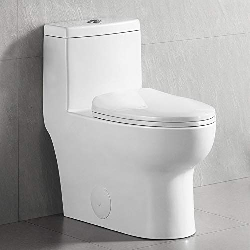 DeerValley Dual Flush Elongated Standard One Piece Toilet with Comfort Seat Height, Soft Close Seat Cover, High-Efficiency Supply, and White Finish Toilet Bowl (DV-1F026)
