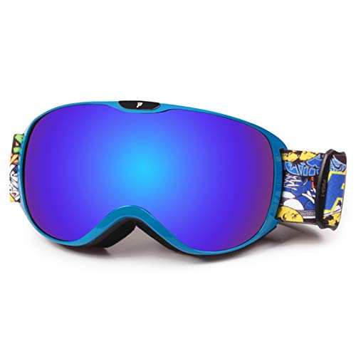 TAOXUE Skibrille, Winddichte Doppelschicht-Antibeschlagbrille für Jungen und Mädchen Große kugelförmige Skibrille, Skifahren, Radfahren, Motorschlittenfahren, Skibrille, Outdoor-Sportarten,G